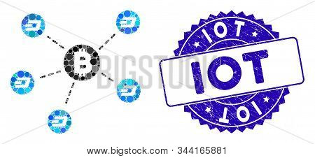 Mosaic Bitcoin Dash Network Icon And Grunge Stamp Seal With Iot Text. Mosaic Vector Is Composed From