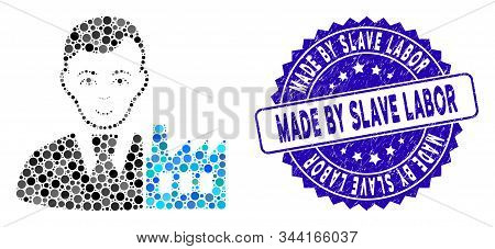 Mosaic Capitalist Oligarch Icon And Rubber Stamp Seal With Made By Slave Labor Text. Mosaic Vector I