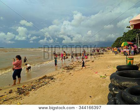 Jepara, Central Java, Indonesia - January 1, 2020: Exotic Paradise Of Greece Beach Europe. Peaceful