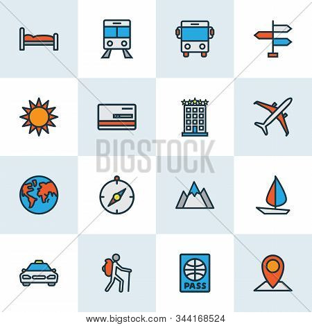 Exploration Icons Colored Line Set With Airplane, Hotel, Bus And Other Citizenship Elements. Isolate
