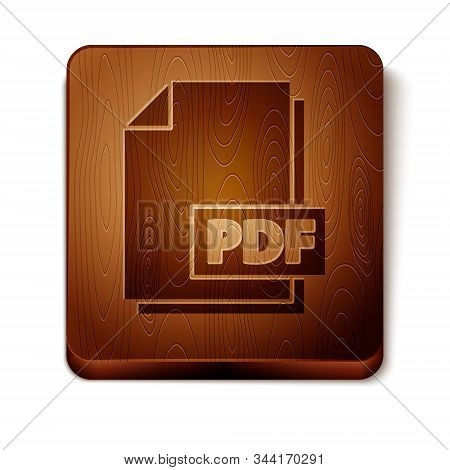 Brown Pdf File Document. Download Pdf Button Icon Isolated On White Background. Pdf File Symbol. Woo