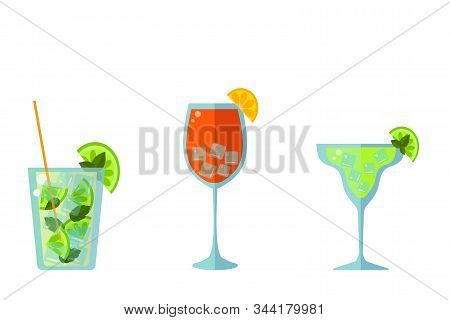 Low Alcohol Cocktails: Mojito, Margarita And Aperol Spritz On A White Background. Flat Vector. Illus