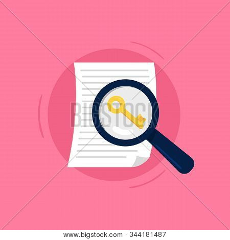 Keyword Search Concept. Large Magnifying Glass Searching For Keys To Improve Search Engine Optimizat