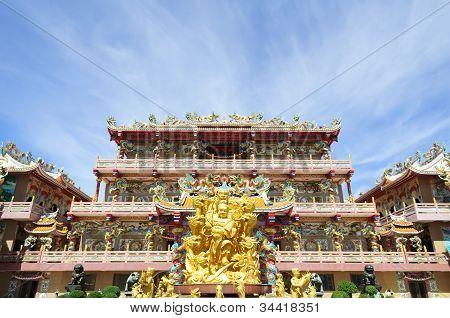 Goddess Naja beating the dragon and china temple Chonburi Thailand poster