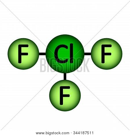 Chlorine Trifluoride Gas Molecule Icon On White Background. Vector Illustration.