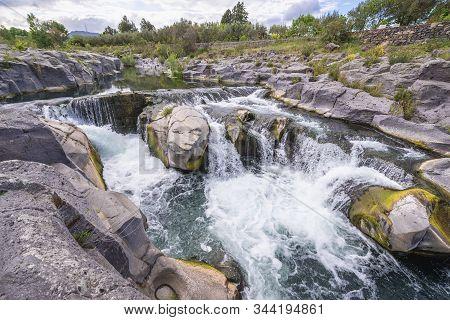 Waterfalls Of Alcantara River Near Castiglione Di Sicilia Village, Sicily In Italy