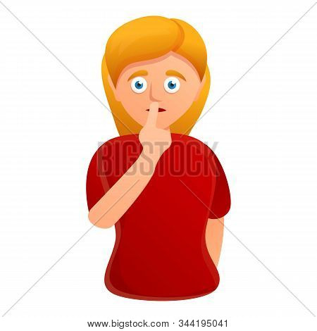 Silence Woman Icon. Cartoon Of Silence Woman Vector Icon For Web Design Isolated On White Background