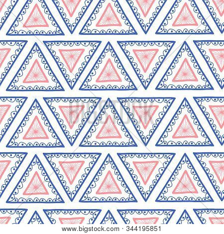 Geometric Seamless Hand Drawn Triangle Background. Hand Drawn Boho Style Pink And Blue Triangles Rep