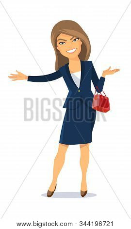 Vector Illustration. A Lady In A Business Suit With A Purse. He Smiles And Makes A Friendly Gesture
