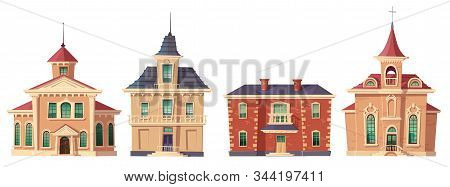 Urban Retro Colonial Style Building Cartoon Vector Set Illustration. Old Residential And Government