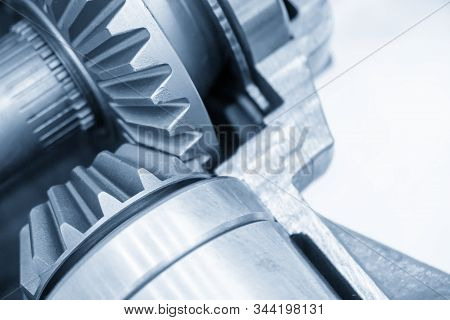 The Close-up Scene Of Differential Gear Set Of Transmission System. The Cut Away Automotive Gear Box