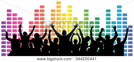 Crowd Of Fun People. Cheerful Youth. Party, Festival, Disco, Dancing. Equalizer Music, Background. V