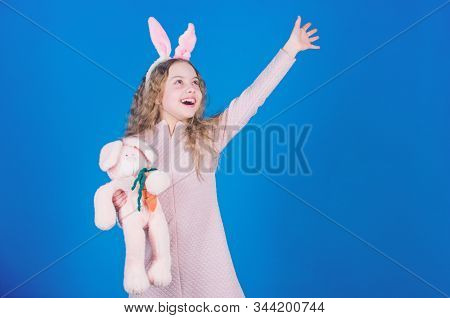 Child Smiling Play Bunny Toy. Happy Childhood. Get In Easter Spirit. Bunny Ears Accessory. Lovely Pl