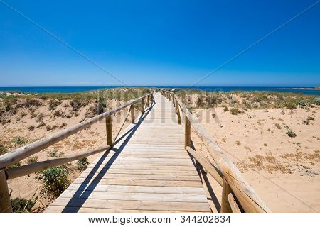Landscape Of Footbridge With Wooden Planks And Banisters To Preserve Nature In Natural Park Of Trafa