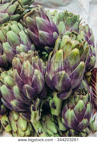 Artichokes On A Indoor Food Market Called Mercato Delle Erbe In Bologna City, Italy