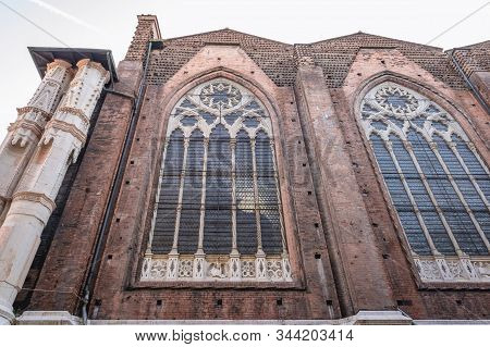 Side View Of Basilica Of Saint Petronius In Bologna City, Italy