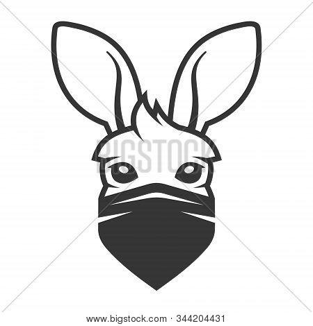 Kangaroo Head With Anti Smoke Mask Icon. Logo On White Background. Vector