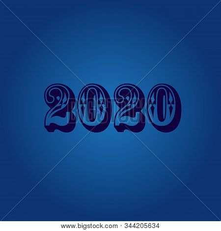 2020, 2020 Isolated Colored Text On A Blue Background, 2020 Text For Calendar, New Years, Happy New