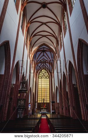 Wroclaw, Poland - December 2, 2019: Main Nave Of St Mary Magdalene Church Located In Historic Part O