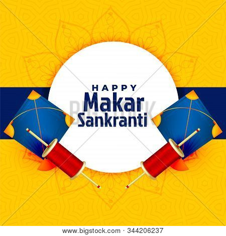 Happy Makar Sankranti Illustration with kites and text for card and backgrounddd