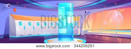 Futuristic School Hallway Interior With Lockers And Round Hologram With Adverts. Vector Cartoon Back