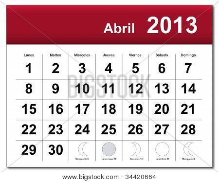 Spanish Version Of April 2013 Calendar