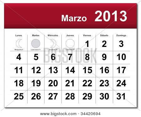 Spanish Version Of March 2013 Calendar