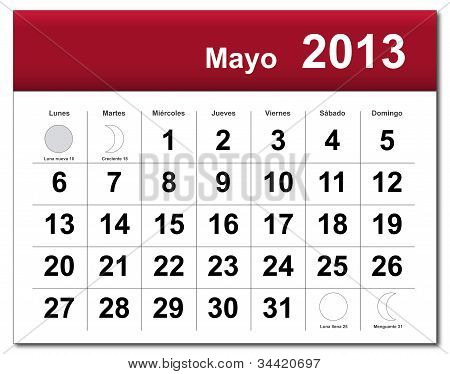 Spanish Version Of May 2013 Calendar