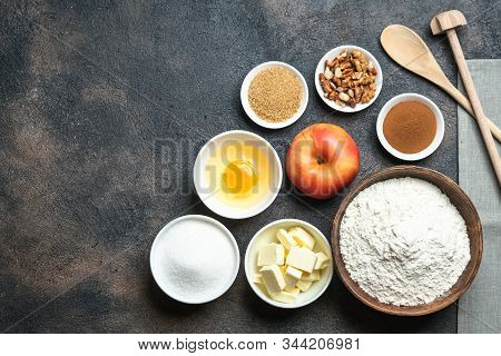Baking Concept Of Apple Pie.  Cooking Baking Process With Ingredients. Top View, Copy Space.