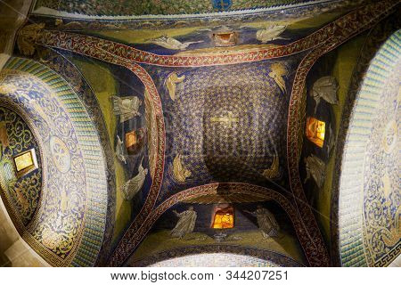 Ravenna, Italy - May 12, 2013: Interior Of The Mausoleum Of Galla Placidia, Chapel Embellished With