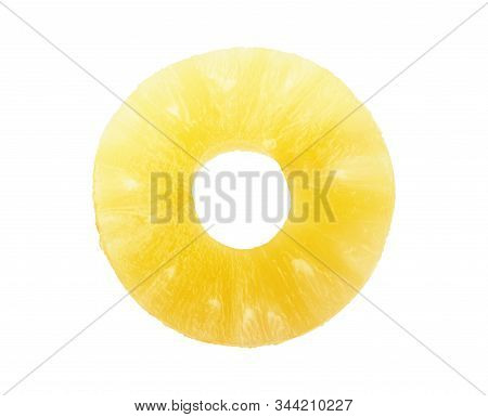 Canned Pineapple Slice On White Background Yellow, Nobody, Close-up,