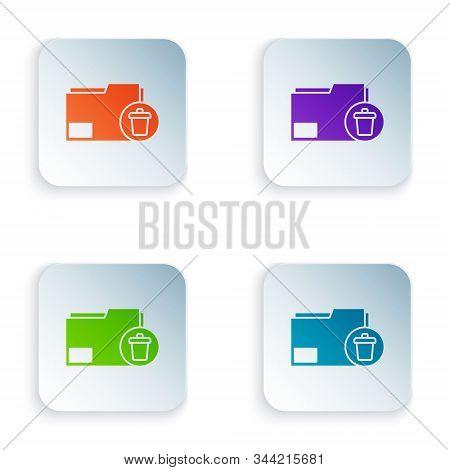 Color Delete Folder Icon Isolated On White Background. Delete Or Error Folder. Close Computer Inform