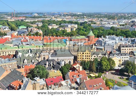 Latvia, Riga. Top-view Of The City In A Sunny Summer Day