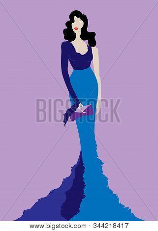 Fashion Model In Blue Beauty Dress, Sexy Woman Posing Evening Gown. Shop Logo Silhouette Diva Beauti