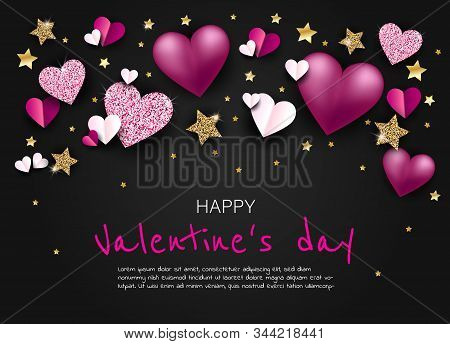 Valentine, valentine day, Valentines Day background, Valentine's day banners, Valentines Day flyer, Valentines Day design, Valentines Day with Heart on black background, Copy space text area, vector illustration.