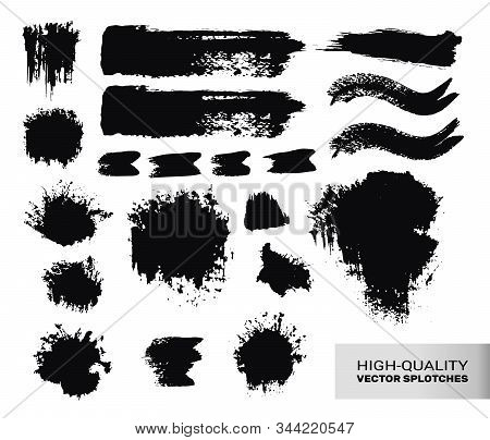 Inked Vector Paint Brush Strokes Set. Big Collection Of Black Silhouettes, Paintbrushes, Hand-made A