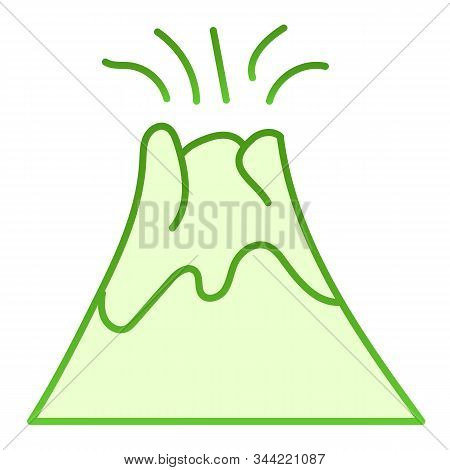 Volcano Flat Icon. Magma Erupting Green Icons In Trendy Flat Style. Nature Gradient Style Design, De