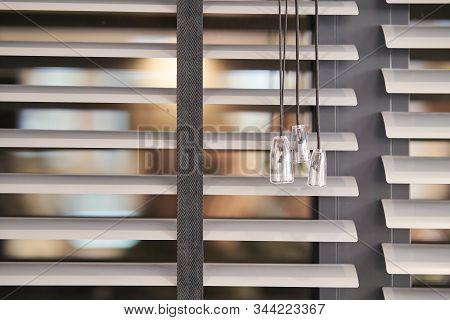 Gray Plastic Window Blinds, Close-up. Blinds Details