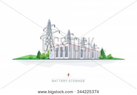 Energy Electricity Battery Storage Grid System With Power Lines