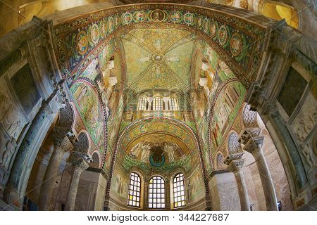 Ravenna, Italy - May 12, 2013: Rich Decorated Walls And Ceiling Of The Basilica Di San Vitale In Rav