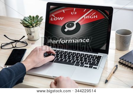 Man Working With A Computer, High Performance Text On The Screen, Office Background
