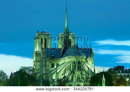 Notre Dame Cathedral On Ile De La Cite, Paris, France