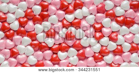 Valentines Hearts Background Of Red, Pink And White Candy Valentines Hearts.