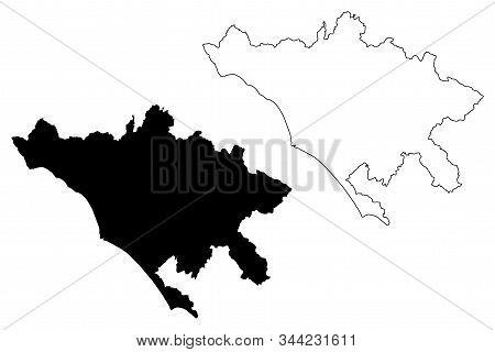 Metropolitan City Of Rome Capital (italian Republic, Italy) Map Vector Illustration, Scribble Sketch
