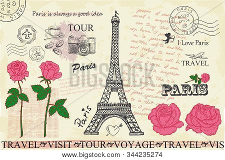 Retro Postcard With Eiffel Tower In Paris, France.