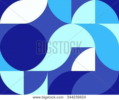 Geometric Blue Pattern Of Simple Shapes. Minimalist Abstract Background. Bright Print For Textiles A