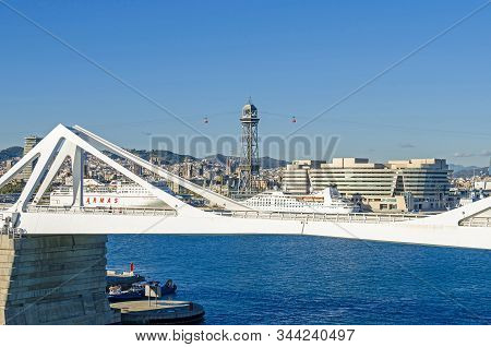Barcelona, Spain - November 10, 2018: View Over The Bridge Porta Deuropa,  World Trade Center And Ho