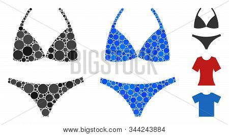Bikini Mosaic Of Spheric Dots In Variable Sizes And Shades, Based On Bikini Icon. Vector Round Dots