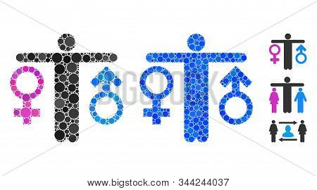 Bisexual Man Composition Of Spheric Dots In Different Sizes And Color Tones, Based On Bisexual Man I