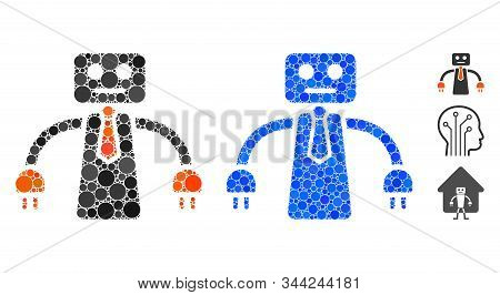 Boss Robot Mosaic Of Filled Circles In Various Sizes And Color Tints, Based On Boss Robot Icon. Vect